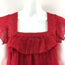 Intuitions Women Blouse Size Small Red Layered Baby Doll Ruffled Dressy Top