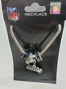 Seattle Seahawks Snake Chain Necklace with Euro Beads & Charm NFL Football