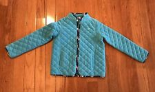 Lilly Pulitzer Girls Blue Fleece Diamond Quilted Jacket Coat Printed Trim Sz 14