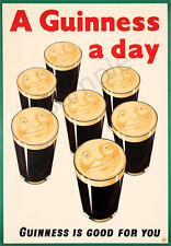 Vintage Poster GUINNESS Drink Advertising Beer Pint PRINT for Home Bar Pub A3 A4