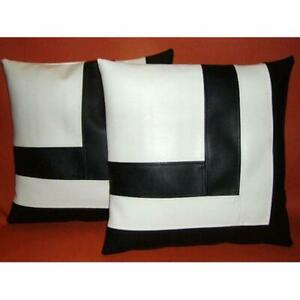 Lambskin Cushion Pillow Cover Square Shap and Stripe Black & White