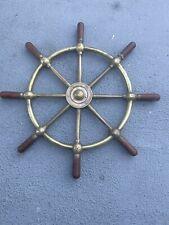 New listing Boat Ship brass & wood Steering Wheel brass Center & wood handles