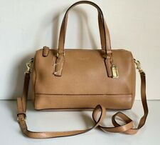 COACH TOFFEE TAN BROWN SAFFIANO LEATHER MINI SATCHEL CROSSBODY BAG PURSE $228