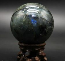 HUGE 76mm 682g Natural Labradorite Crystal Sphere Ball Rosewood Stand Madagascar