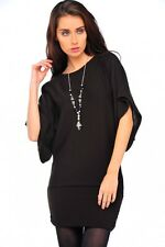 DIVADAMES WOMENS LADIES BATWING LONGLINE JUMPER WITH NECLACE9818ACR