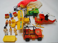 Fisher Price Toy Lot 1970 80 Boats Plane Helicopter Buggy Jeep Figures Parachute