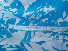 Vintage Brochers Trading Corp. Blue and White Splash Crepe Chiffon 44-45 Wide