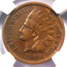 1909-S Indian Cent 1C Coin - NGC VF35 - Rare Key Date Penny - $575 Value!