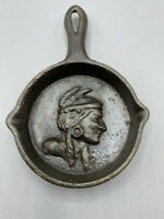Miniature Cast Iron Pan Vintage w/raised profile of Native American Man 3 x 4.5""
