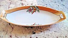 Vintage Noritake Lusterware Relish Dish Orange w Bird by Chikaramachi Japan