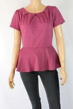 Cap Sleeve Peplum Machine Washable Solid Tops & Blouses for Women