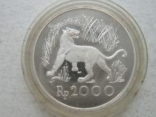 Indonesia 2000 Rupiah 1974 Silver coin proof Wildlife Javan Tiger