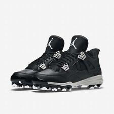 Nike Air Jordan Retro 4 MCS Baseball Cleats BLACK WHITE GRAY 807709 010 SIZE 10