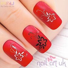White & Black Flower Water Decal Nail Art Stickers