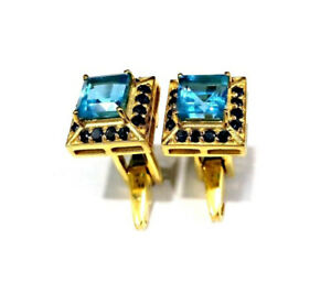 Natural Blue Topaz Black Spinel Gemstone 14K Yellow Gold Men's Cufflinks