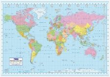 (LAMINATED) WORLD MAP (POLITICAL) GIANT POSTER (100x140cm) WALL CHART GALL PROJ