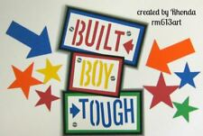 BUILT BOY TOUGH play title paper piecing Premade Scrapbook Pages by Rhonda