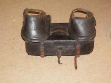 PAIR OF ANTIQUE HORSE DRAWN LEATHER LAWN MOWER BOOTS .ORIGINAL LEATHER CASE