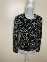 Laura Ashley Black And White Spot Button Up Jumper Cardigan Uk 10
