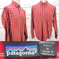 Patagonia Men's Red Plaid 100% Cotton Long Sleeve Medium Shirt Made In Portugal