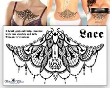 Henna Lace Temporary Tattoo Large Arabic Underboob Back Chest Body Art Womens