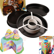3Pcs Non-Stick Round Divider Checkerboard Cake Chocolate Baking Pan Tin Mould #M