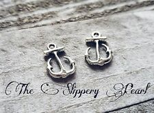 6 Anchor Charms Antiqued Silver Nautical Pendants 2 sided