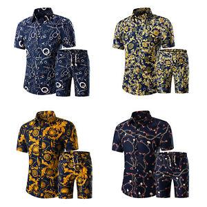 Men Summer Floral Print Outfit Casual Short Sleeve Button Shirt Shorts Beachwear