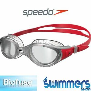 NEW MENS/WOMENS SPEEDO FUTURA FLEXISEAL BIOFUSE CLEAR/RED SWIMMING GOGGLES
