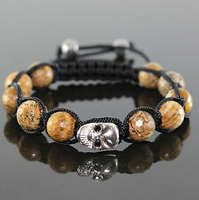 Herren Totenkopf Biker Shamballa Armband  Armreifen Bracelet braun