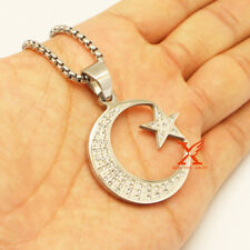 "24"" St.Steel Silver Allah Muslim Islamic Crescent Moon and Star Pendant Necklace"