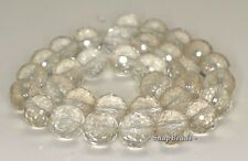 """12MM  ROCK CRYSTAL GEMSTONE GRADE B FACETED ROUND LOOSE BEADS 7.5"""""""