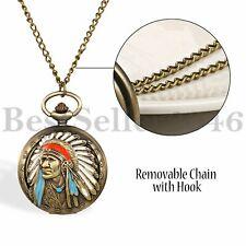 Ancient Tribal People Indian Quartz Pocket Watch for Women Men Pendant Neckalce