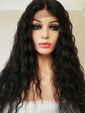 Brazilian human hair wig, Lace Front Wig, Lace Wig, black brown curly afro perm