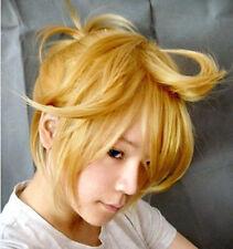 Vocaloid 2 Kagamine Len Cosplay Perücke wig blond gelb gold short kurz zopf