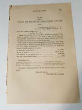 1872 Pennsylvan RR report WILCOX & HOWARD HILL IMPROVEMENT RAILROAD Thomas Kane