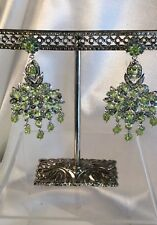 Emerald Peridot Sterling earrings Val.Cert.$995.Handcrafted fine work.NEW