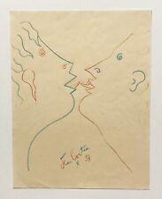 JEAN COCTEAU. Original colored pencil drawing. Signed, 1957.