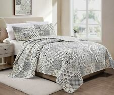 Gladstone 3-Piece Pre-Washed Microfiber Geometric Patchwork Bedspread Quilt Set