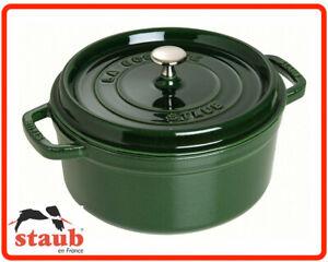 ❤ Staub Enamel cast iron Cookware Basil Green Round Cocotte 24cm 3.8L France ❤