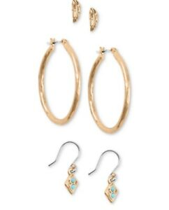 $39 LUCKY BRAND Rose Gold  TONE  3 PC HOOP & STUD EARRINGS Leave A105