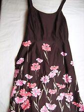 Womens Ladies 8 Brown Pink floral Dress Sundress Lined STUDIO I BOUTIQUE Summer