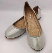 Bailarina Zapatos de Novia en Plata con Brillo N19-336