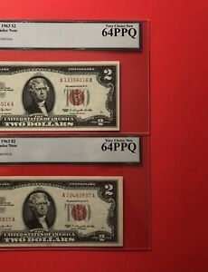 1963-2 RED SEAL $2 LEGAL TENDER NOTES,GRADED BY LEGACY VERY CHOICE NEW 64 PPQ.