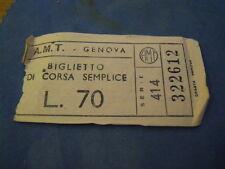 """BIGLIETTO TRAM """" A.M.T. GENOVA """" LIRE 70 4-230/7"""