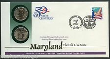 UNITED STATES 50 STATE QUARTERS MARYLAND  P & D OFFICIAL COMMEMORATIVE COVER