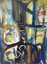 Abstrait peinture sur carton support bois signée Ahmed