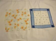 Vintage Printed Handkerchiefs Hankies 2 Pc. Small Sized Child's Blue Posies CUTE