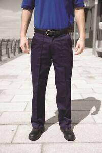 "2 x Warrior TR10 Mens Polycotton Front Sewn Seam Work Navy Trousers 36"" Reg"