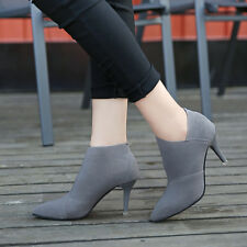 Fashion Ankle Suede Shoes Stilettos Pointed Toe High Heels Martin Boots New